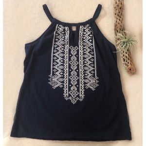Embroidered Cotton Tank Top sz M